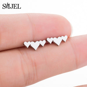SMJEL Stainless Steel Ballet Stud Earrings for Women Girls Fashion Flower Heart Bird Small Earings Jewelry Pendientes Gifts