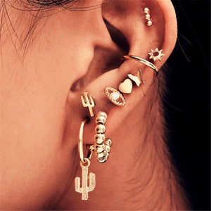Modyle 2020 New Fashion Gold Color Earrings For Woman Trendy Geometric Map Circle Moon Star Stud Earrings Set Female Jewelry