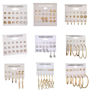 Gold Stud Earring Set 29 Styles Rhinestone imitation Pearl Earrings For Women