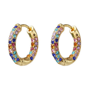 Women CZ Rainbow Earrings Cubic Zirconia Ear Cuff Set for Female Trendy Gold Huggie Clip on Earrings Earcuff Crystal Jewelry