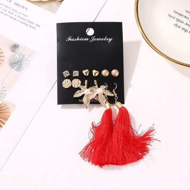 2020 Fashion Crystal Stud Earrings Simple Pearl Wedding Women's Earrings Trendy Ziron Geometric Tassel Earrings Jewelry Gift
