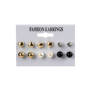 12 Pairs/Set Women's Earrings Set Pearl Earrings For Women Bohemian Fashion Jewelry 2020 Geometric Crystal Heart Stud Earrings