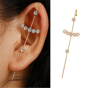 New Ear Wrap Crawler Hook Earrings for Women Surround Auricle Diagonal Stud Copper Inlaid Zircon Piercing Earrings /1 Pair