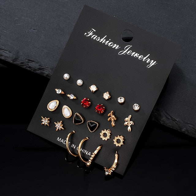12 Pairs/Set Women's Earrings Set Pearl Earrings For Women 2020 Bohemian Fashion Jewelry Geometric Crystal Heart Stud Earrings