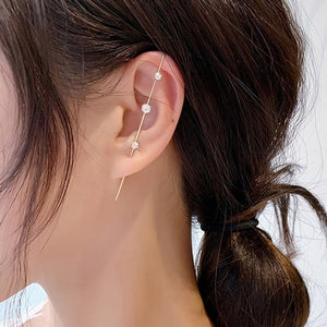 2020 New Arrivals Unique Jewelry 1 Pcs  Earring Women Alloy Cross Ear Pin Design Line Around Earrings Zircon Wedding Accessories