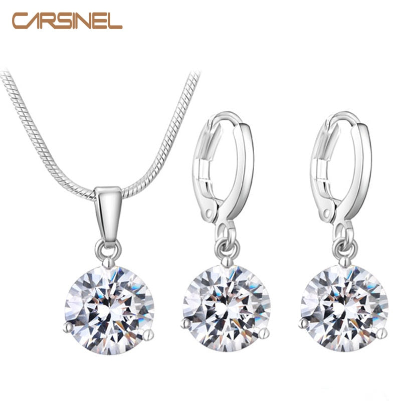 CARSINEL 21 Colors Jewelry Sets for Women Round Cubic Zircon Hypoallergenic Copper Necklace/Earrings Jewelry Sets Wholesale
