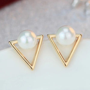 2016 Girl Simple Studs Earings Fashion Jewelry Triangle Pearl Earrings Brincos For Women Gold Perle Boucles D'oreilles Femmes