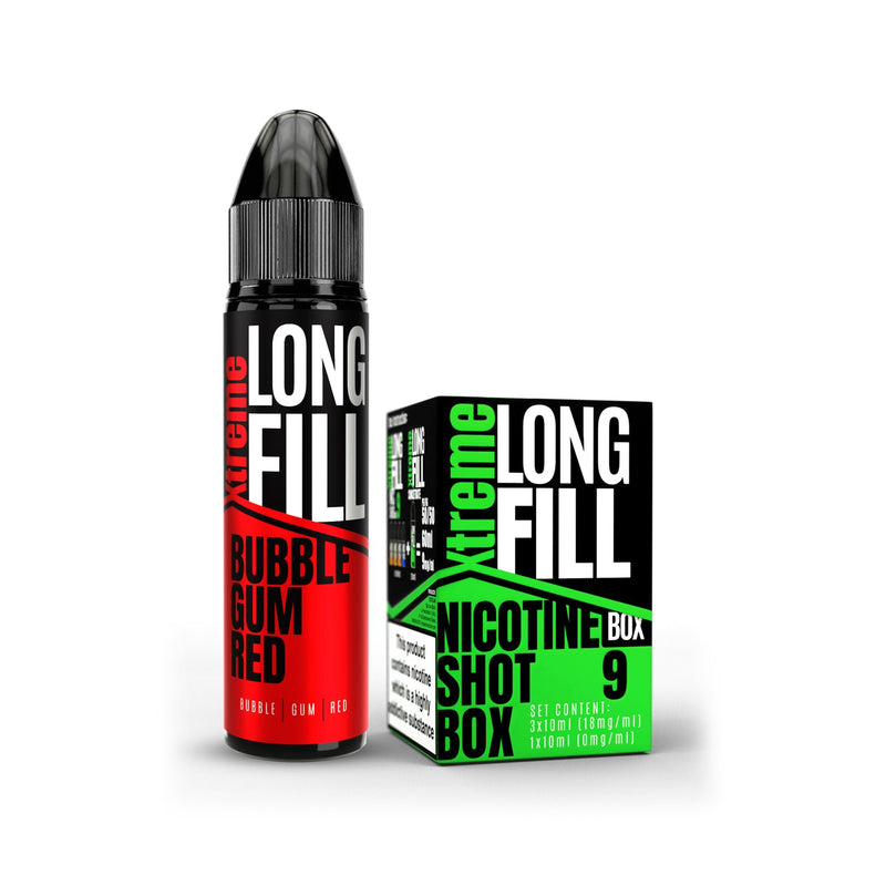 Xtreme Long Fill E-Liquid Bubble Gum Red 9MG - Medium Nicotine