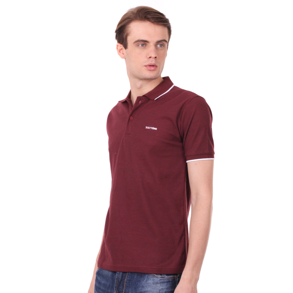 Number 61 Signature Polo in Maroon