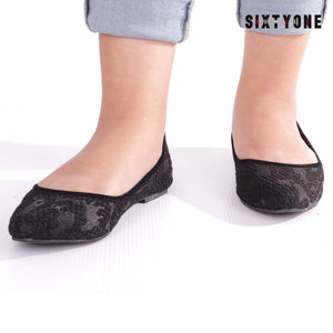 Bianca Black Flat Shoes
