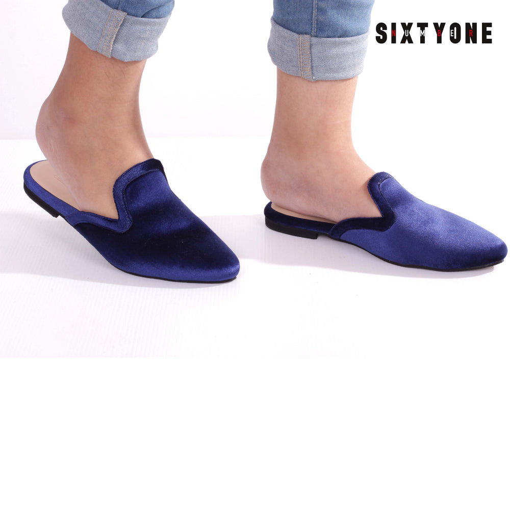 Kate Royal Blue Velvet Flat Shoes
