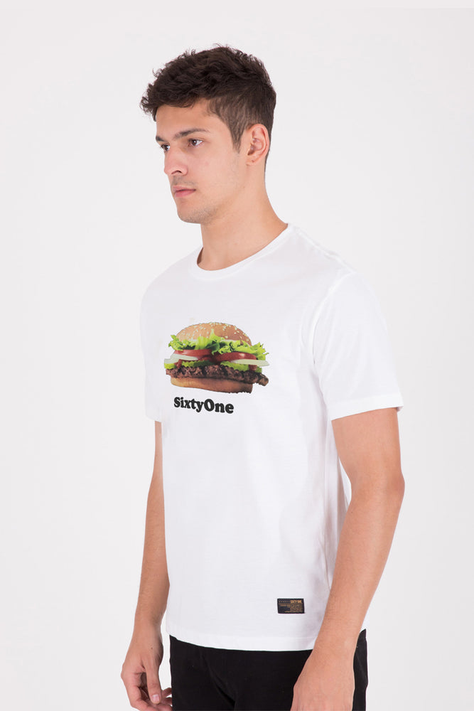 Load image into Gallery viewer, 61 Bikin Laper Burger White T-shirt