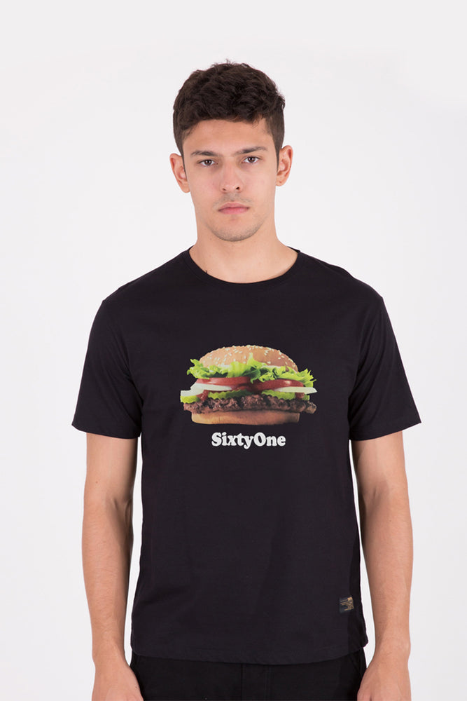 Load image into Gallery viewer, 61 Bikin Laper Burger Black T-shirt