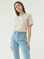 Number 61 Lipat Basic Women T-shirt in Beige