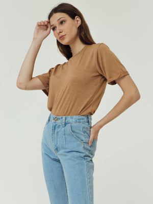 Number 61 Lipat Basic Women T-shirt in Brown