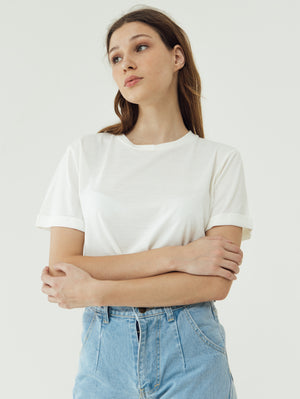 Load image into Gallery viewer, Number 61 Lipat Basic Women T-shirt in White