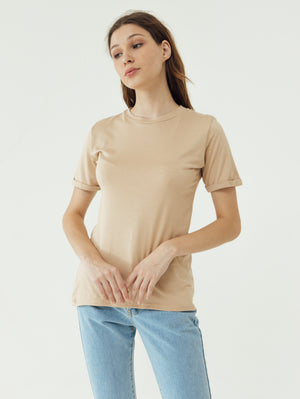Load image into Gallery viewer, Number 61 Lipat Basic Women T-shirt in Tan