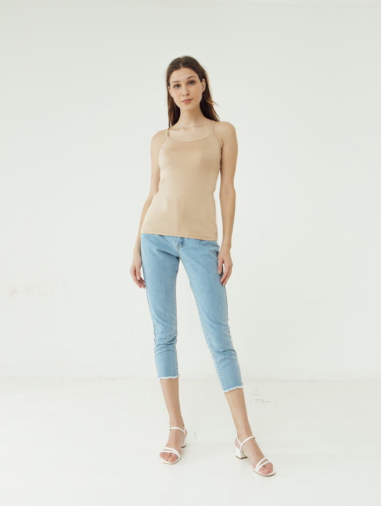 Load image into Gallery viewer, Number 61 - Basic Tank Top Tali Wanita Cream