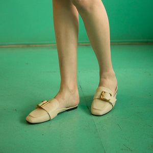 Alaia Belt Cream Flat Shoes