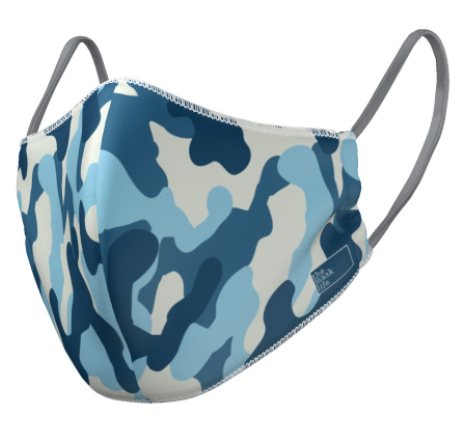 The Mask Life reversible reusable face mask camo print blue