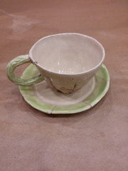 Handmade Cup with Handle and Saucer