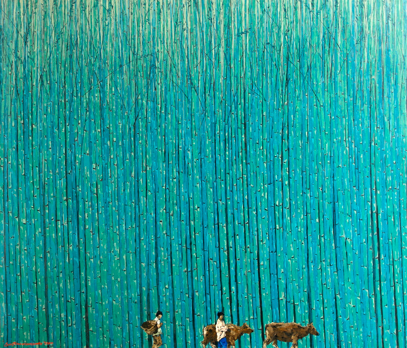 Bamboo Forest in Blue