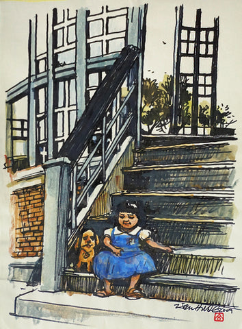 Girl with Puppy at Doorstep
