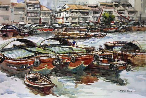 Classic Singapore Scene: Bumboats Docking at the Singapore River