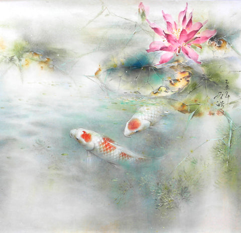 Blissful Company - 2 Carps & Pink Lotus