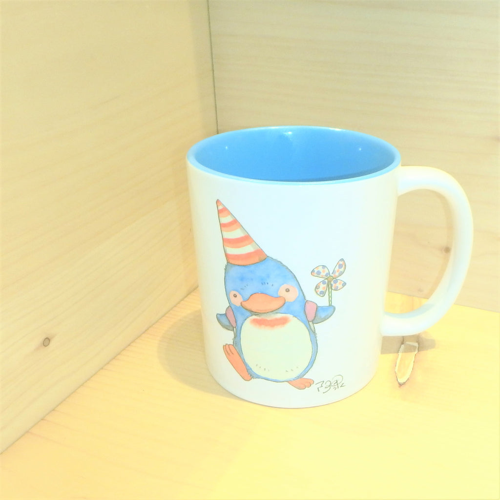 My Penguin Holds a Paper Toy Windmill! (Limited Edition Mug) Blue Interior