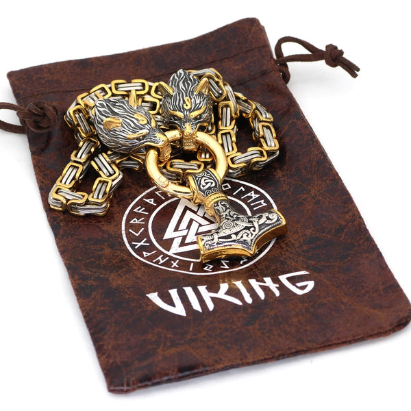 COLLIER DE VIKING MARTEAU D'OR FAIT MAIN EN ACIER INOXYDABLE - Medieval Fantasy
