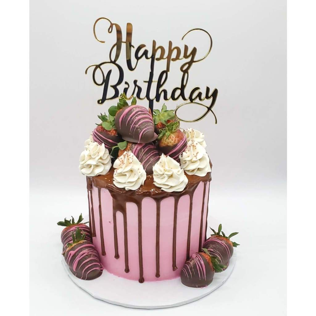 Birthday Cake with Dipped Strawberries and Happy Birthday Topper