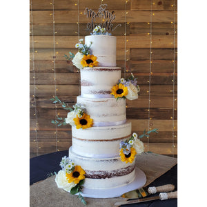 5 Tier Naked Wedding Cake with Sunflowers and Mr and Mrs Topper