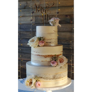 3 Tier Naked Cake with Pink and White Roses