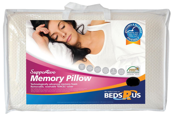 Beds R Us Supportive Memory Pillow Low Profile