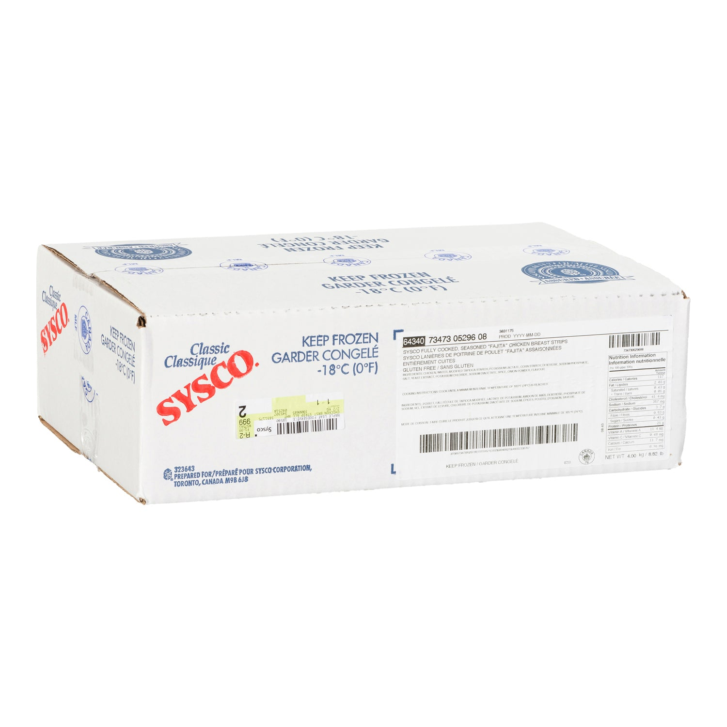 Sysco Classic Frozen Grilled Chicken Breast Strips 2 kg Gluten Free - 2 Pack [$14.75/kg]