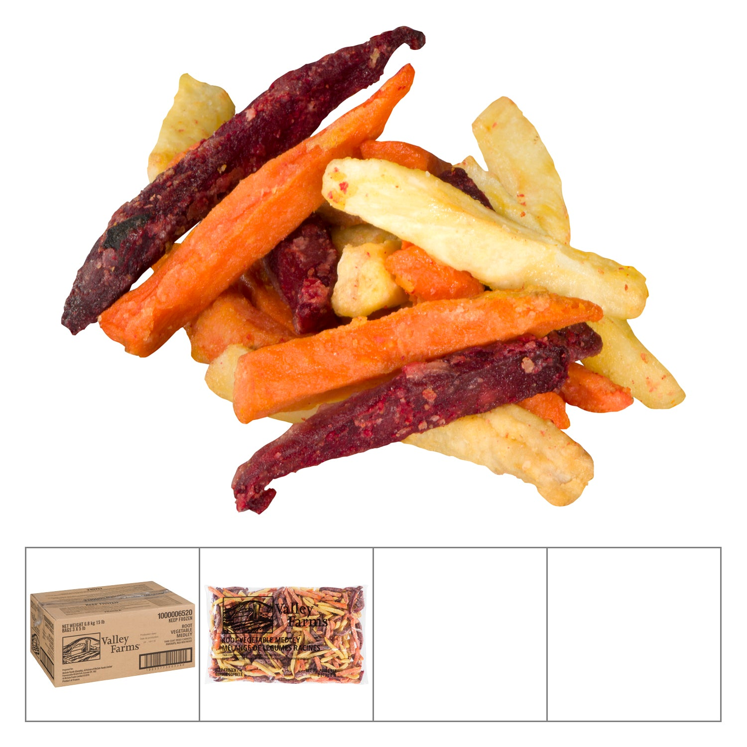 Valley Farms Frozen Straight Cut Root Vegetable Fries 5 lb - 3 Pack [$4.93/lb]