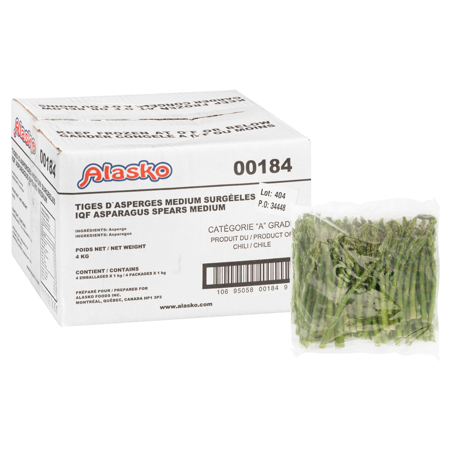 Alasko Individually Quick Frozen Asparagus Spears 1 kg - 4 Pack [$10.00/kg]