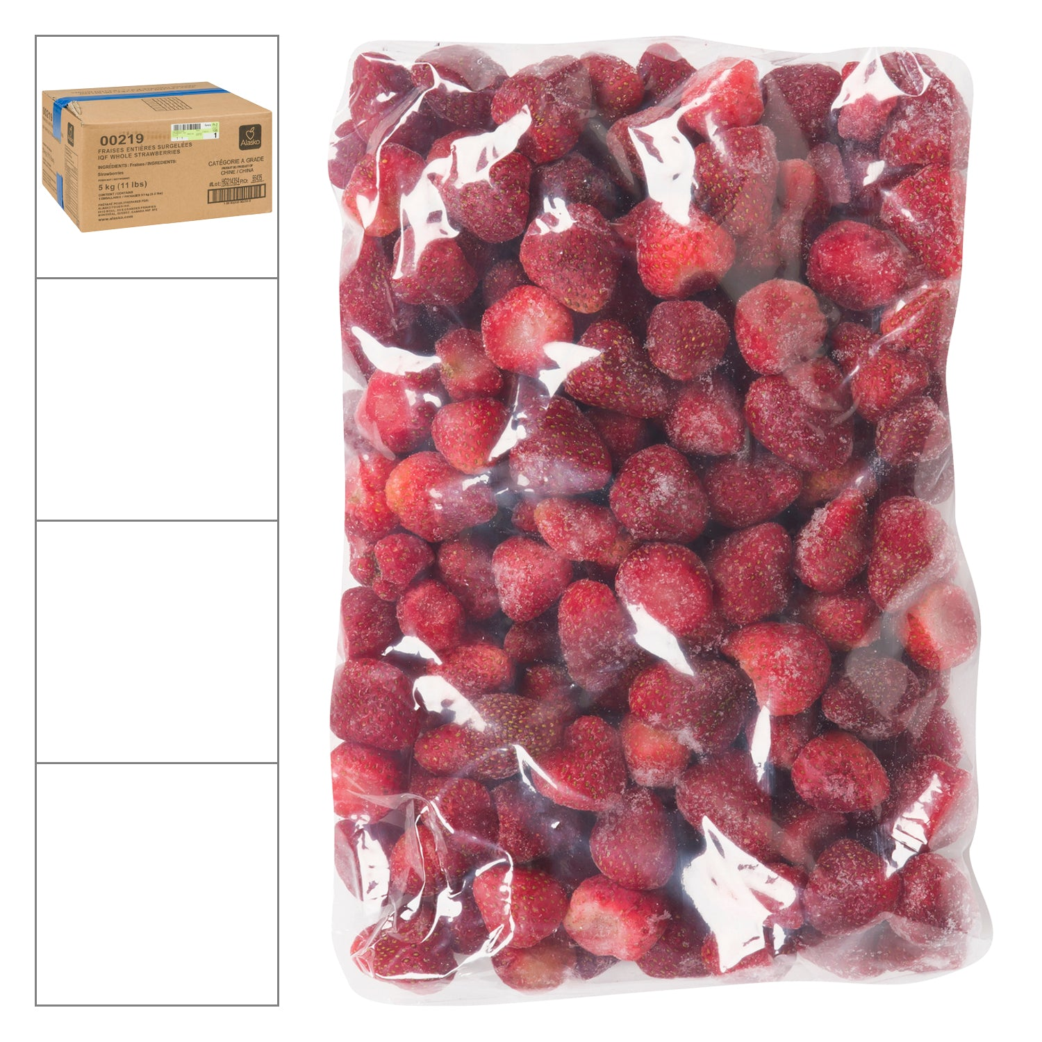 Alasko Individually Quick Frozen Whole Strawberries 1 kg - 5 Pack [$5.00/kg]