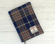 Load image into Gallery viewer, Persian Blue & Beige Tartan Harris Tweed Padded A5 Notebook Cover