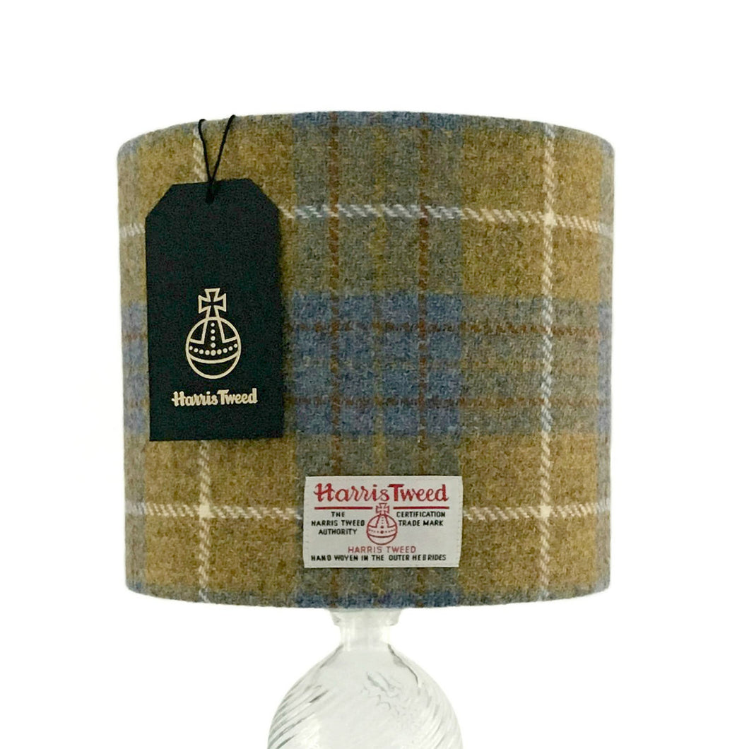 Blue & Mustard Yellow Tartan Harris Tweed Lampshade - 20% Discount Applied At Checkout