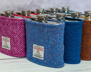 Beige & Grey Houndstooth Harris Tweed Hip Flask