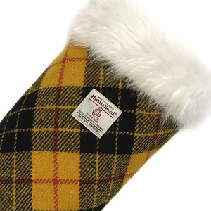 Yellow & Black MacLeod Tartan Harris Tweed Christmas Stocking