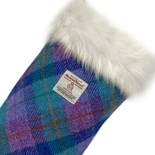 Load image into Gallery viewer, Violet & Kingfisher Blue Tartan Harris Tweed Christmas Stocking