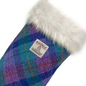 Violet & Kingfisher Blue Tartan Harris Tweed Christmas Stocking