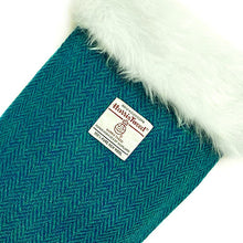 Load image into Gallery viewer, Teal & Turquoise Herringbone Harris Tweed Christmas Stocking