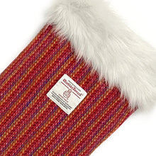 Load image into Gallery viewer, Red Candy Herringbone Harris Tweed Christmas Stocking
