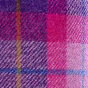Pink & Dark Violet Tartan Harris Tweed Lampshade