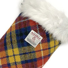 Load image into Gallery viewer, Yellow, Blue & Red Buchanan Tartan Harris Tweed Christmas Stocking