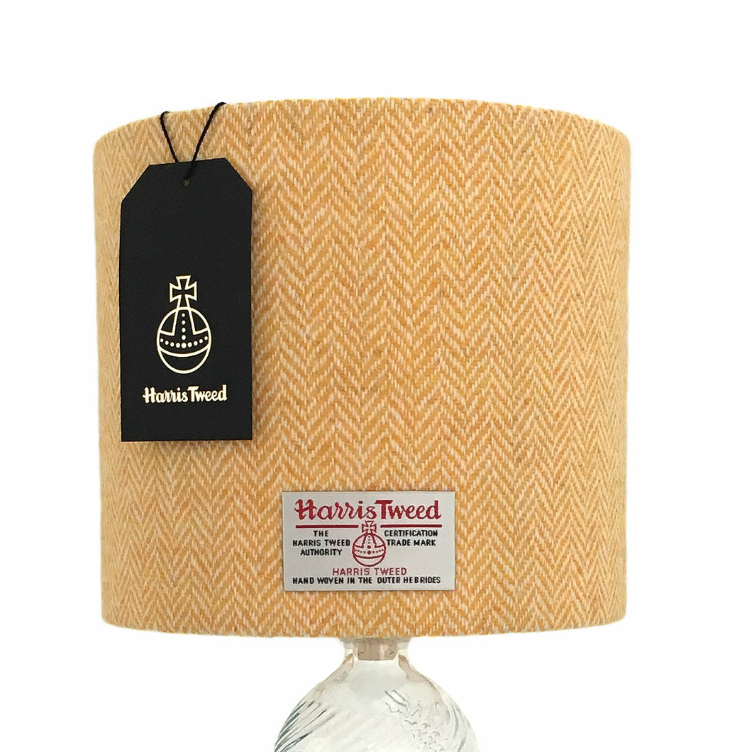 Yellow & White Herringbone Harris Tweed Lampshade